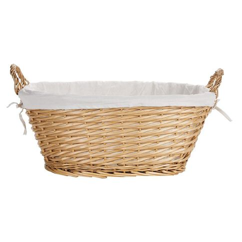 Living & Co Heriot Lined Willow Basket Oval Natural