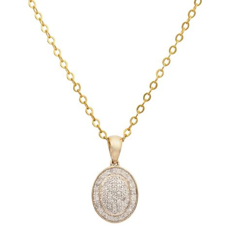 1/4 Carat of Diamond 9ct Gold Diamond Oval Shape Pendant