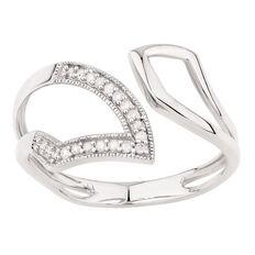 Giovani 1/10 Carat of Diamonds Sterling Silver Diamond Snake Ring