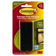 Command Large Picture Hanging Strips Black 4 Pack