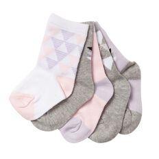 H&H Infants Girls' Crew Socks 5 Pack