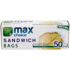 Max Choice Resealable Sandwich Bags 50 Pack