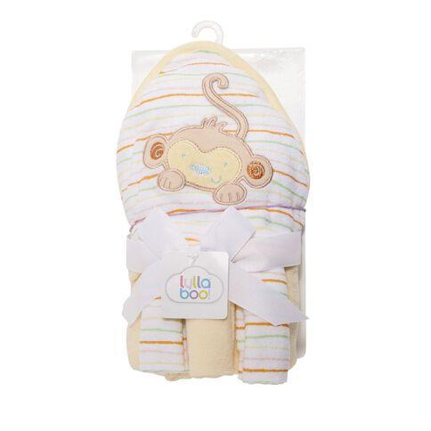 Lullaboo Novelty Towel and Facewasher Set Yellow/Mint