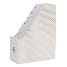 Stylo Magazine File White with Gold Foil Dots