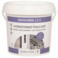 Renovator Plus Interior/Exterior Semi Gloss Paint Perfect White 4L