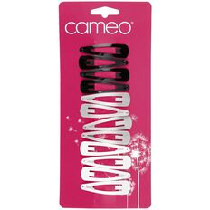 Cameo Essentials Hair One Touch Clips Black White Silver 12 Pack