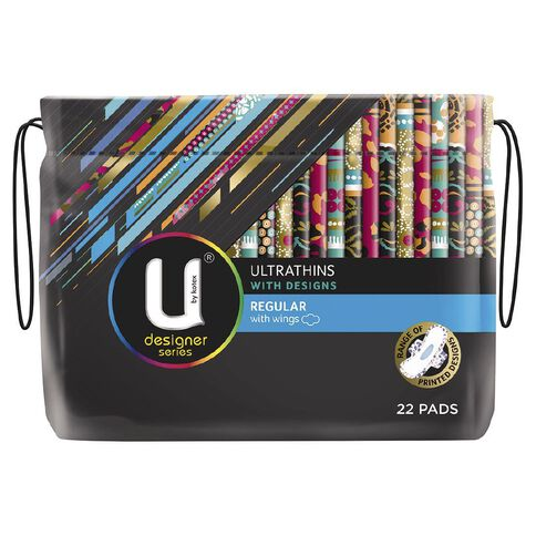 U By Kotex Designs Regular Ultrathin Winged 22s