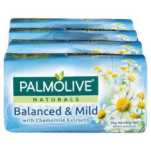 Palmolive Naturals Chamomile Balanced & Mild 90g Soap 4 Pack White