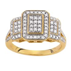 1/2 Carat of Diamonds 9ct Gold Diamond Octagon Ring