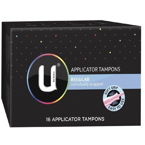 U By Kotex Applicator Tampons Regular 16s