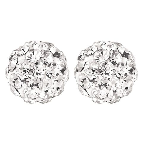 Sterling Silver White Crystal Stud Earrings 8mm