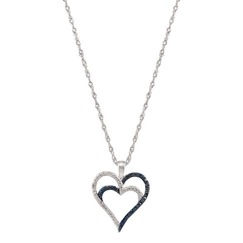 Sterling Silver Blue Diamond Heart Pendant