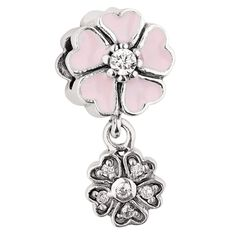 Ane Si Dora Sterling Silver Enamel Pink Drop Flower Charm