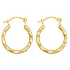 9ct Gold Small Twist Hoop Earrings