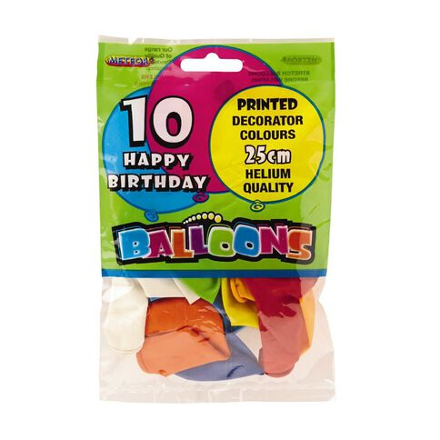 Meteor Balloons Happy Birthday 25cm 10 Pack