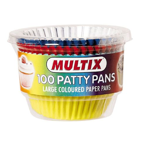 Multix Patty Pan Coloured Large 100pk