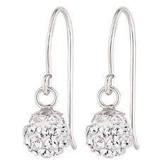 Sterling Silver White Crystal Drop Earrings 6mm