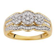 1/2 Carat of Diamonds 9ct Gold Diamond Flower Ring