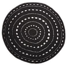 Living & Co Rug Valencia Cotton Crochet Round Black 1.5m