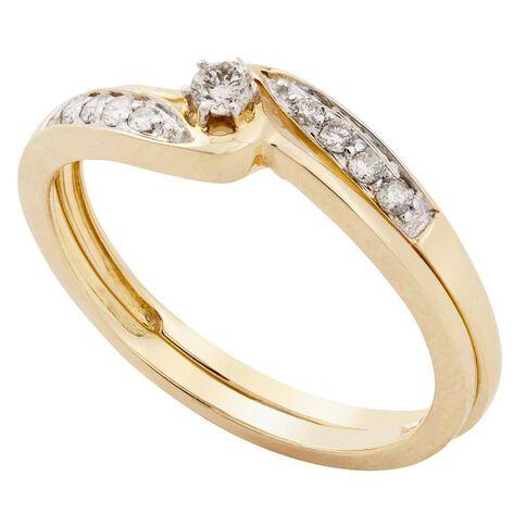 9ct Gold Diamond Cluster Set Ring N Ring Size N