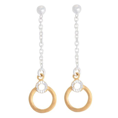 Sterling Silver Gold Plated Circle Earrings