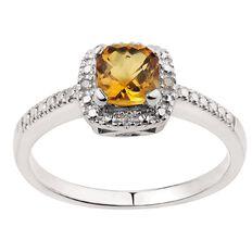 Sterling Silver Diamond Cushion Cut Citrine Ring