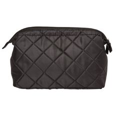 Toiletry Bag Purse Large Quilted Black