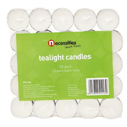 Necessities Brand Tealight Candle Pressed White 50 Pack