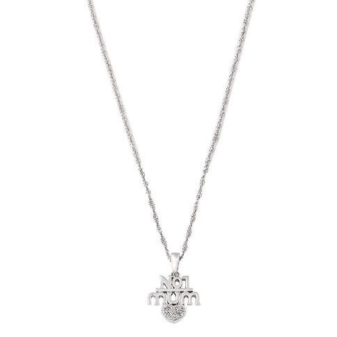 Sterling Silver Diamond No. 1 Mum Pendant