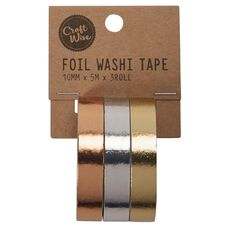 Craftwise Washi Tape Foil 10mm x 5m 3 Pack