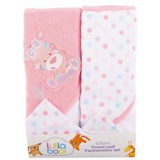 Lullaboo Towel and Facewasher Set Pink 4 Piece