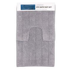 Living & Co Bath Mat Set Silver 45cm x 75cm 2 Piece