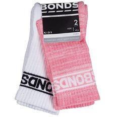 Bonds Girls' Crew Socks 2 Pack