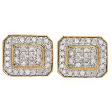 1/4 Carat of Diamonds 9ct Gold Diamond Rectangle Earrings