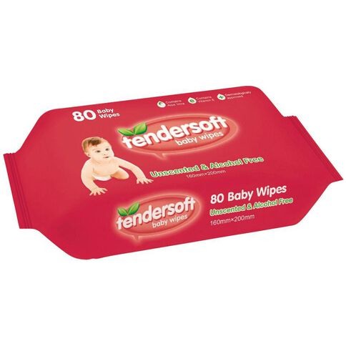 Tendersoft Baby Wipes Unscented 80 Pack