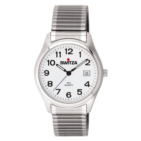 Switza Men's Stainless Steel Watch with White Figure Dial Expanding Band