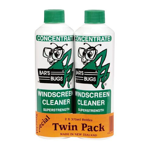 Bar's Bugs Concentrate Windscreen Cleaner 375ml Twin Pack