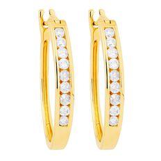 1/2 Carat of Diamonds 9ct Gold Diamond Hoop Earrings