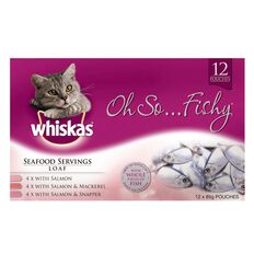 Whiskas Oh So Fishy Seafood Servings Pouch 12 Pack
