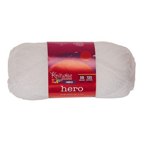 Knitwise Hero Yarn Hero 8-Ply Snow 50g