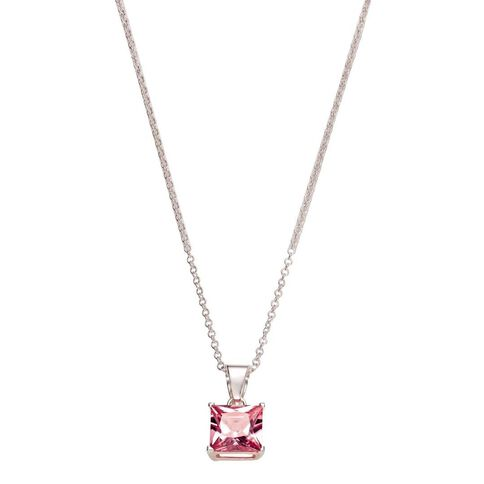 Sterling Silver Pink CZ 4 Claw Pendant 8mm