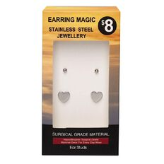Stainless Steel Heart and Ball Studs Earrings 2 Pack