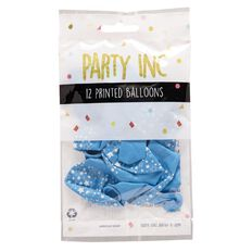 Party Inc Balloons Printed Blue Stars 25cm 12 Pack