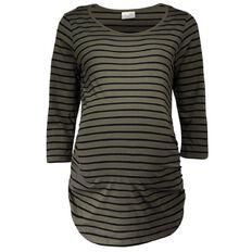 Maya Mum To Be Maternity Stripe 3/4 Sleeve Top