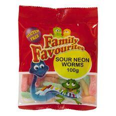 Family Favourites Sour Neon Worms 100g
