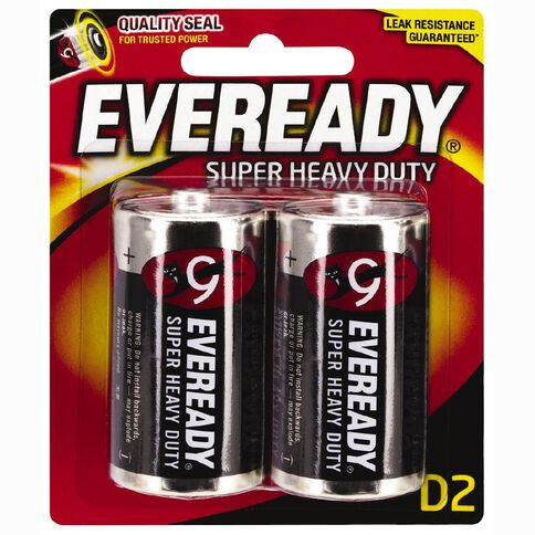 Eveready Super Heavy Duty Batteries D 2 Pack