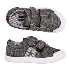 Hippo + Friends Kids' Touch Fast Strap Slub Canvas Shoes