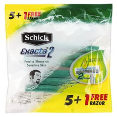 Schick Exacta 2 Disposable Razor Sensitive 5 + 1 Free