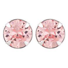 J Lili Sterling Silver Swarovski Pink Crystals Earrings 7mm