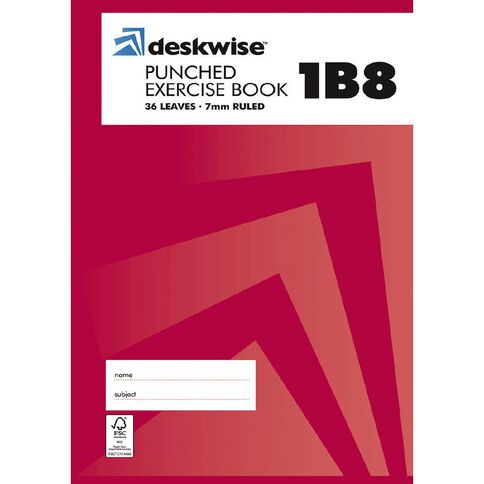 Deskwise Exercise Book 1B8 7mm Ruled 36 Leaf Punched